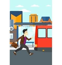 Man missing bus vector