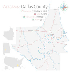 Map dallas county in alabama vector