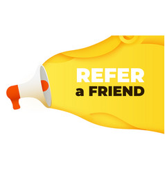 Megaphone with refer a friend word vector