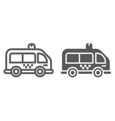 Mini bus line and glyph icon automobile and car vector