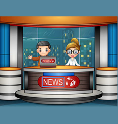 news anchor is broadcasting on tv vector image