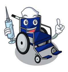 nurse wheelchair in the a character shape vector image