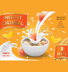 Oatmeal instant flakes with peach advertising vector