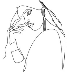 one line drawing indian girl minimal lines poster vector image