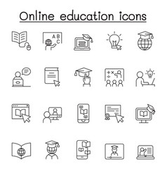 online education icon set in thin line style vector image