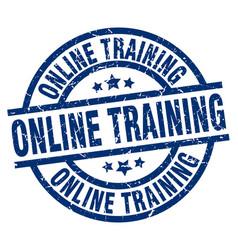 Online training blue round grunge stamp vector