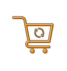 Orange refresh shopping cart icon isolated on vector