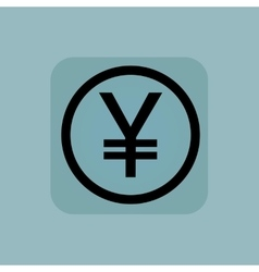 Pale blue yen sign vector image