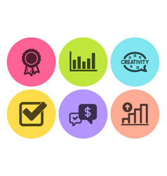 Payment received creativity and checkbox icons vector