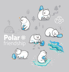 polar bear and little penguin spending time vector image