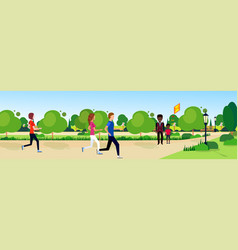 Public park mix race people relax wooden bench vector