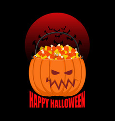 Pumpkin basket for halloween trick or treat corn vector
