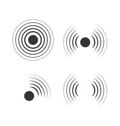 radar icons sonar sound waves vector image
