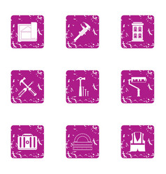 Repair crew icons set grunge style vector
