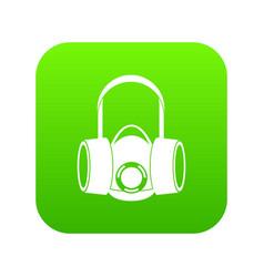 Respirator icon digital green vector