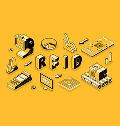 Rfid technology isometric business concept vector