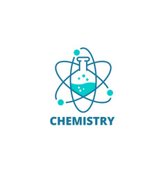 Science laboratory logo icon chemical flask vector