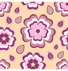 Seamless pattern flower sakura and leaf vector image