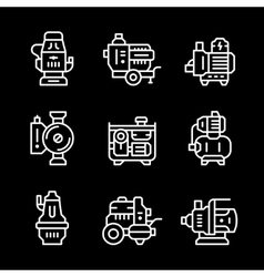Set line icons of water pump vector image