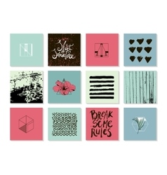 set of abstract modern trendy cards vector image