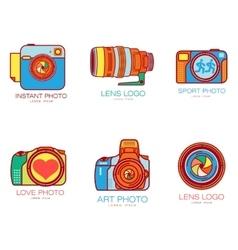 Set of colorful camera logo templates vector