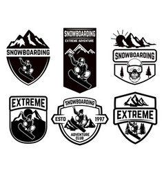 set of snowboarding club emblems design element vector image