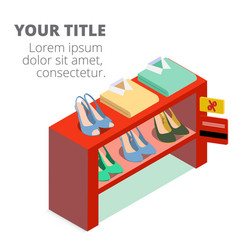 shopping infographic shoe rack shirt background ve vector image