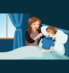 sick kid taking medicine vector image