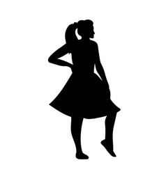 Silhouettes dancing girl vector