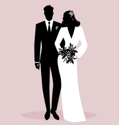 Silhouettes of newlyweds couple wearing wedding vector