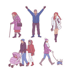 sketch people walking in winter set vector image