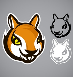 squirrel head brown logo emblem vector image