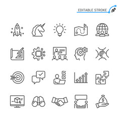 startup line icons editable stroke pixel perfect vector image