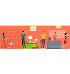 supermarket working process concept vector image