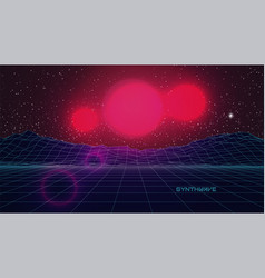 Synthwave retro futuristic background sci-fi red vector