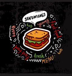 tasty fast food sandwich menu vector image