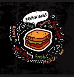 Tasty fast food sandwich menu vector