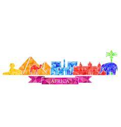 the symbols of architecture and nature of africa vector image