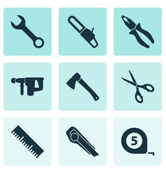 tools icons set with chainsaw scissors pliers vector image