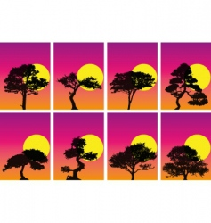 tree silhouettes in sunset vector image