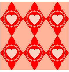 Valentines diamond pattern with red hearts vector