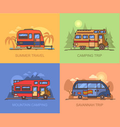 Van and truck for travels recreational vehicle vector