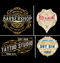 Vintage logos organized by layers vector