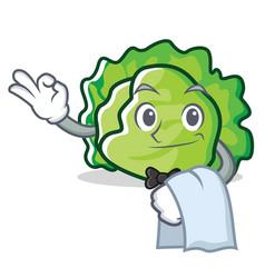 Waiter lettuce character cartoon style vector