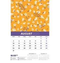 Wall calendar template for august 2020 week vector
