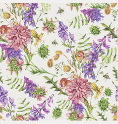 Watercolor seamless pattern with summer meadow vector