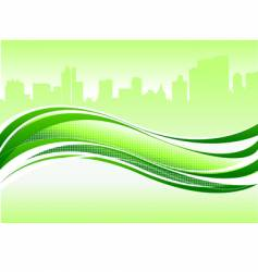 wave and city vector image