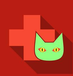 Web line icon veterinary medicine icon cat vector