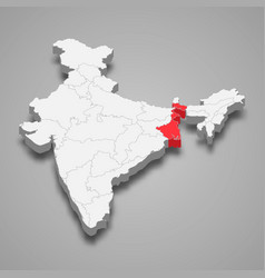 West bengal state location within india 3d map vector