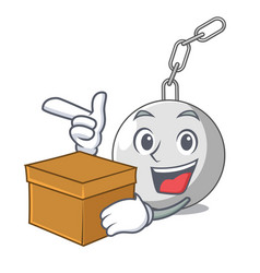 With box wrecking ball hanging from chain cartoon vector